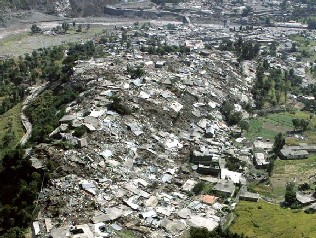 An aerial view of earthquake-devastated upper Pakistan, shows countless collapsed homes and buildings caused by Oct. 8 earthquakes that shook the whole nation